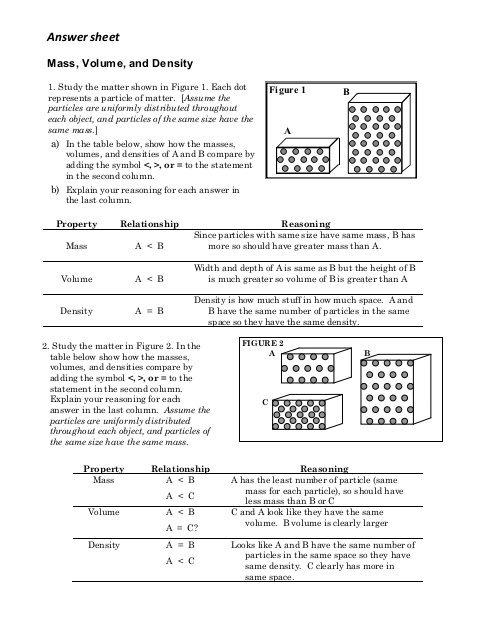 Density Worksheet Answers Pdf