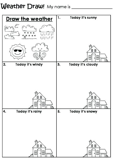 Draw The Weather Worksheet Weather Worksheets For Kids Worksheets
