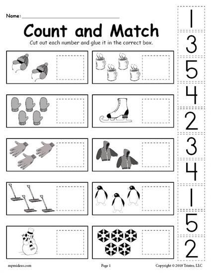 Free Printable Winter Counting And Matching Cut And Paste