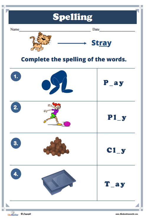 Spelling Activities Worksheets Printable