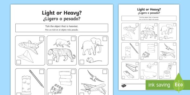 Heavy Or Light Worksheet   Worksheet English Spanish