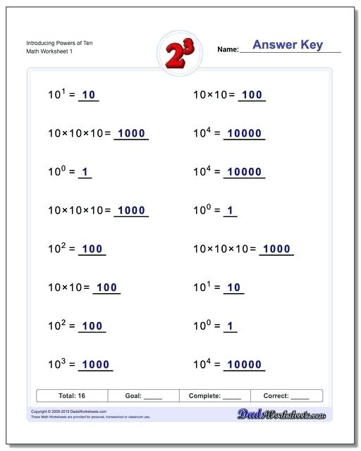Exponents Worksheets Powers And Exponents Worksheets 7th Grade