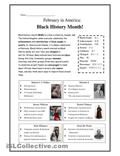 Free Printable Black History Worksheets