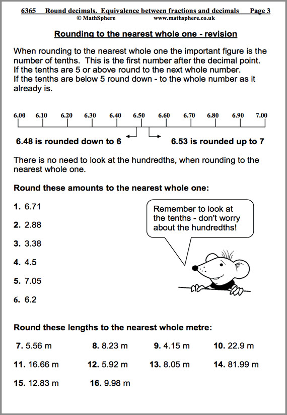 Rounding Decimals Maths Worksheet