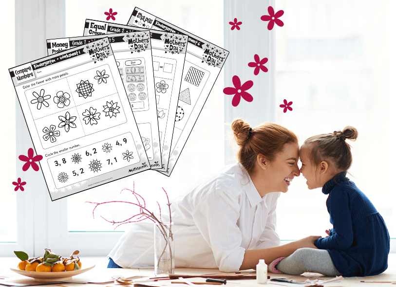 Free Mother's Day Themed Math Worksheets!