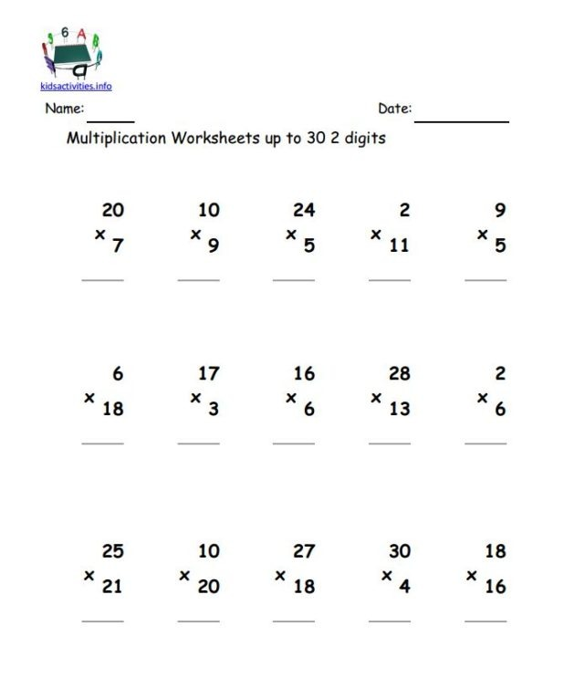 Free Printable Double Digit Multiplication Worksheets 2 2