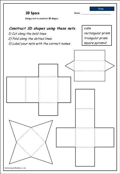 Geometric Nets Shapes Worksheets Sorting Activities Nets Posters