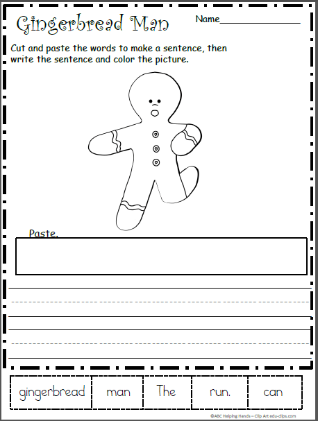 Gingerbread Man Mixed Up Sentence Worksheet