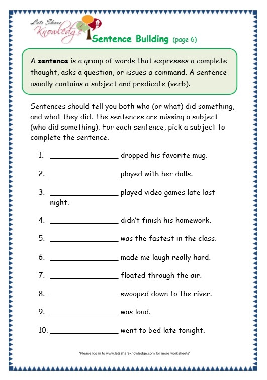 Grade 3 Grammar Topic 35  Sentence Building Worksheets