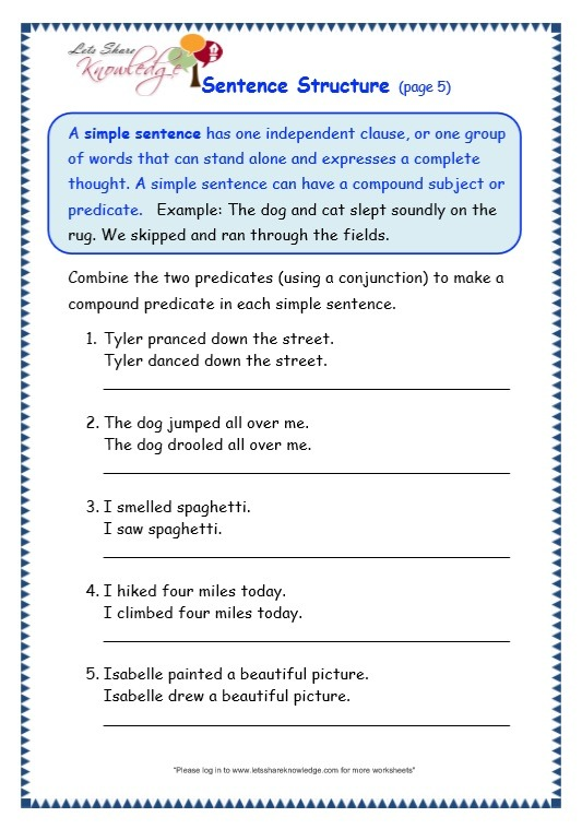 Grade 3 Grammar Topic 36  Sentence Structure Worksheets – Lets