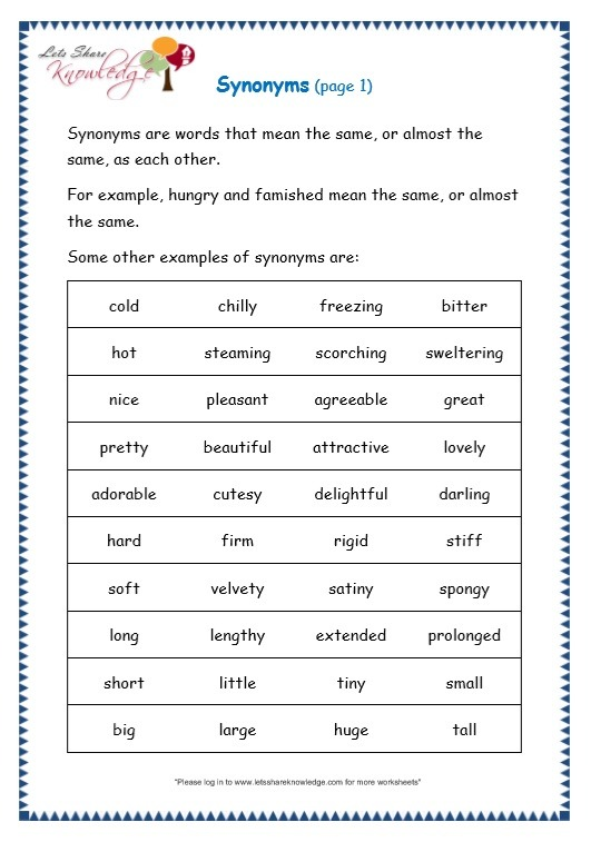 Grade 3 Grammar Topic 27  Synonyms Worksheets – Lets Share Knowledge