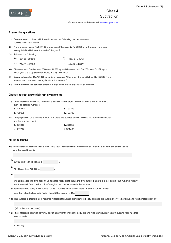 Grade 4 Math Worksheets And Problems  Subtraction