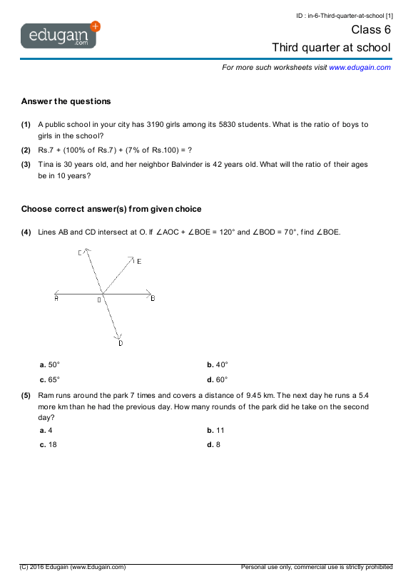 Grade 6 Math Worksheets And Problems  Third Quarter At School
