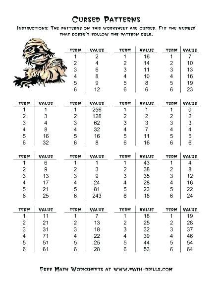 Grade 7 Patterning Worksheets
