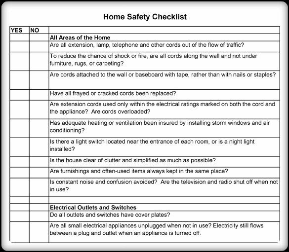 Home Safety Worksheets Pdf Format – Word & Excel Examples