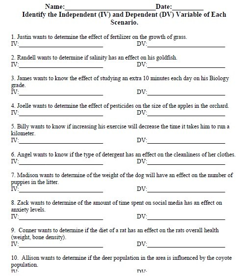 Independent And Dependent Variables Math Worksheet With Answer Key