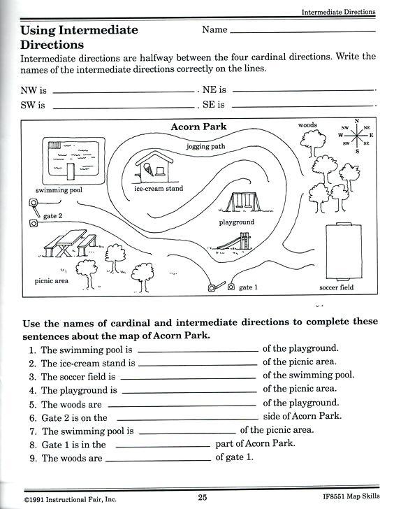 Intermediate Directions Worksheet Science Worksheets Intermediate