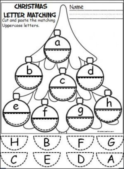 Free Christmas Ornament Alphabet Activity  Students Cut And