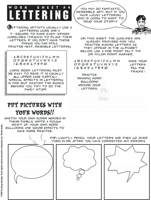 Lettering For Comics Art Lesson Ideas For The Sub In Art Classroom