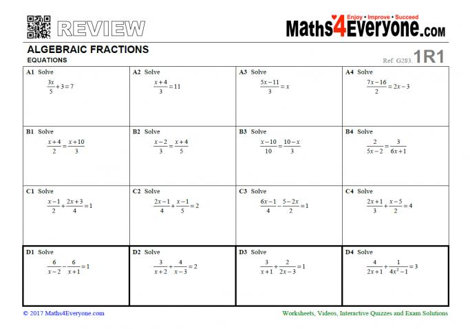 Algebraic Fractions Gcse Revision Worksheet – Solving Equations