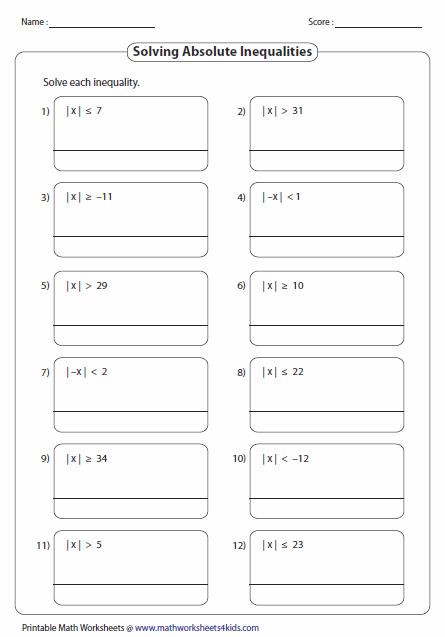 Solving Absolute Value Equation Worksheet