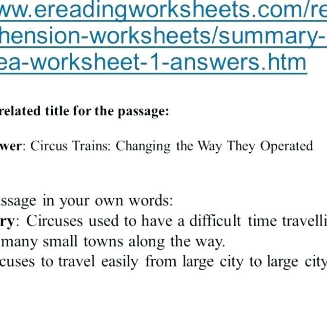 Main Idea Worksheets Kindergarten