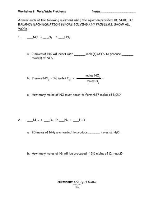 Mole Mole Problems Worksheet
