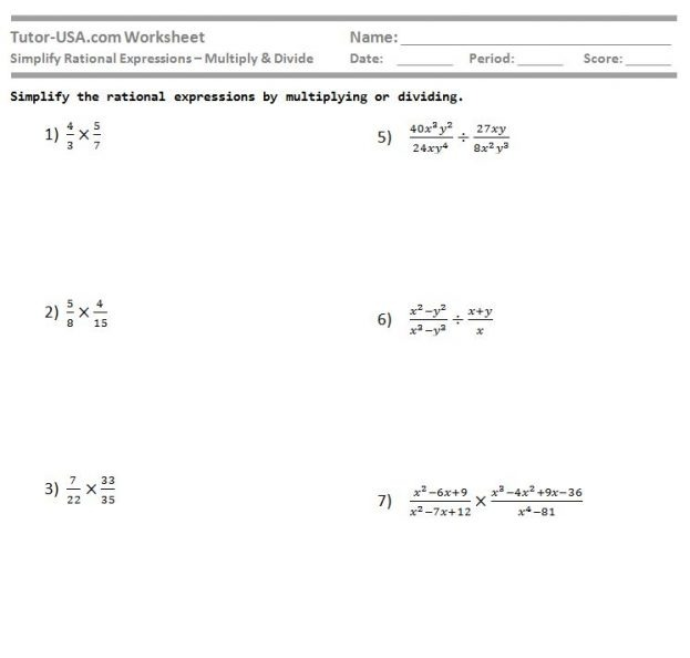 Multiplication Of Rational Algebraic Expressions Worksheets