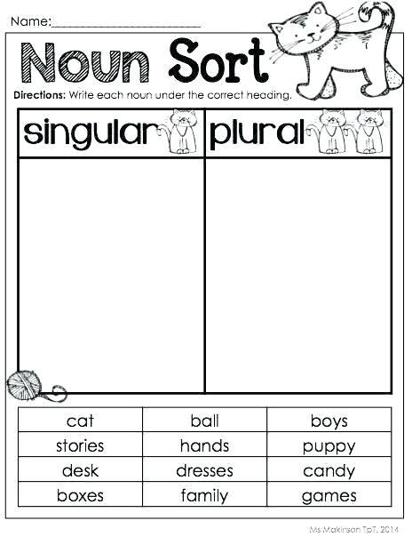 Nouns Worksheet Kindergarten Kindergarten Plural Noun Worksheets S