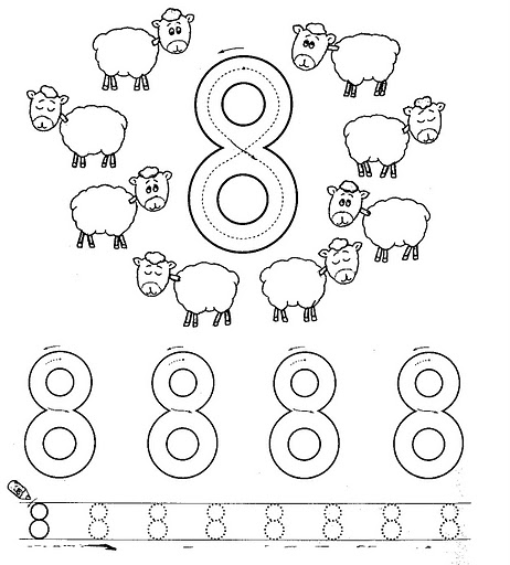 Number 8 ( Eight) Tracing And Coloring Worksheets