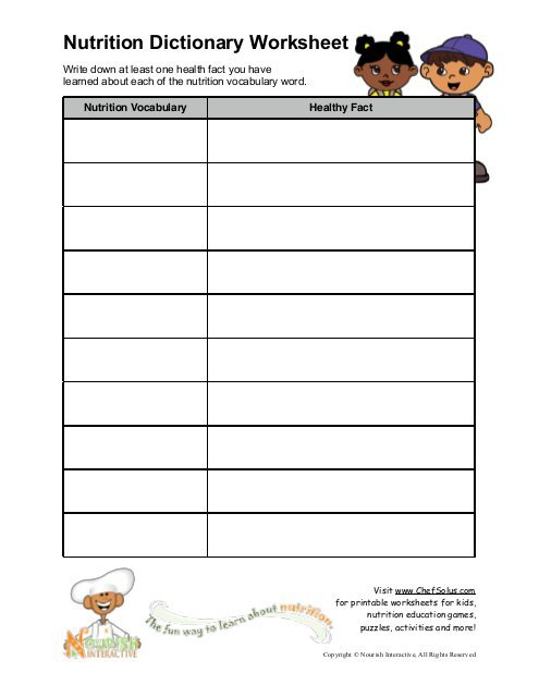 Nutrition Dictionary Worksheet