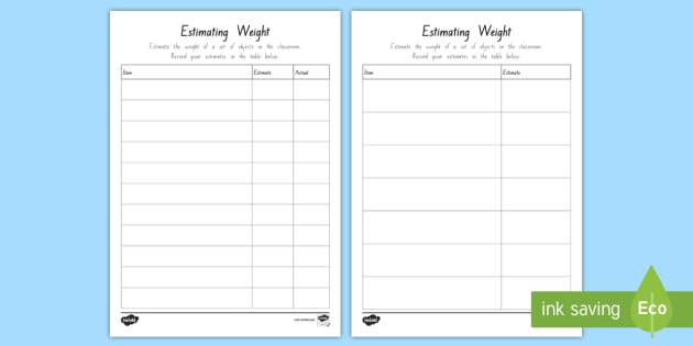 Estimating Weight Worksheet   Worksheet