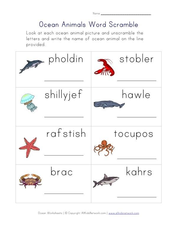 Ocean Animals Word Scramble Worksheet
