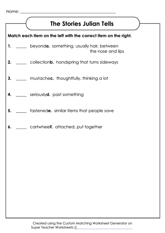 The Stories Julian Tells Worksheet With Answer Key Printable Pdf