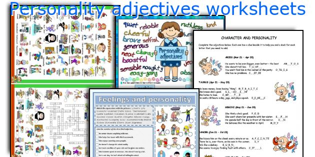Personality Adjectives Worksheets