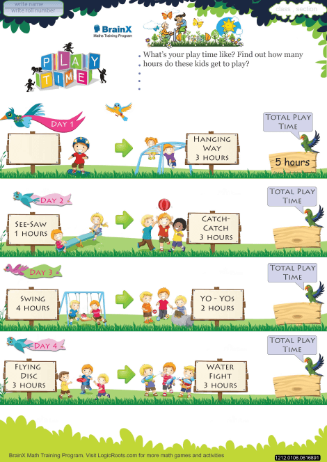 Play Time Math Worksheet For Grade 1