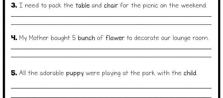 Special Plural Nouns Worksheets Irregular Plurals For Second Grade