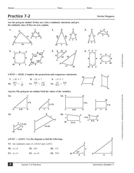 Lesson 9 Homework Practice Similar Figures Answers