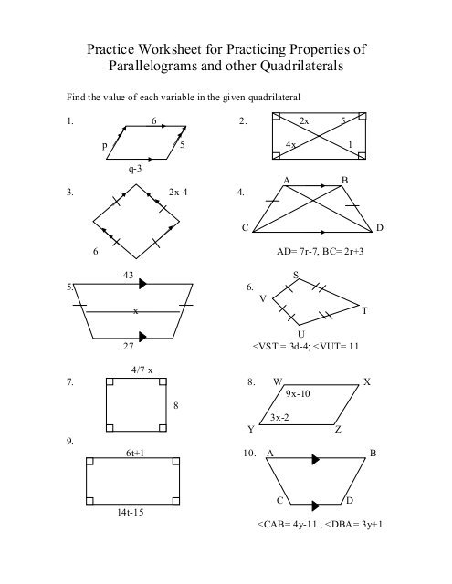Practice Worksheet For Practicing Properties Of Parallelograms And