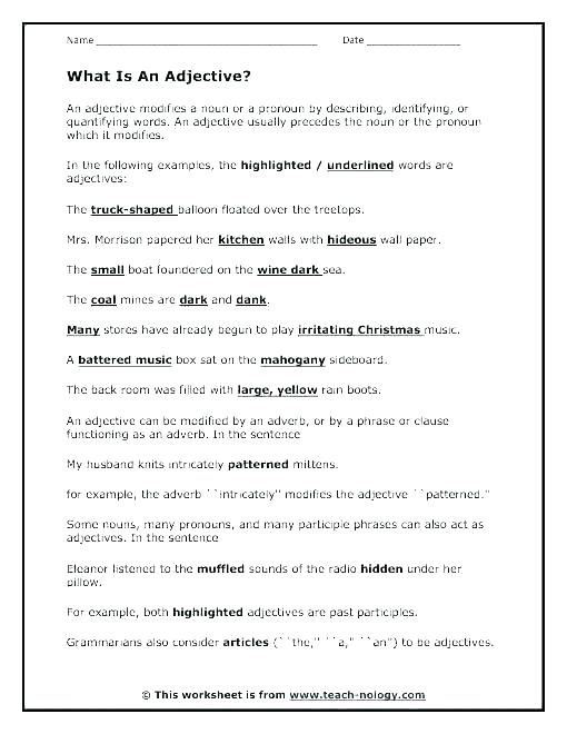 Proper Adjectives Worksheet For Grade Lesson Planet Adverbs Free