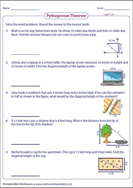 Pythagorean Theorem Word Problems Worksheet Reading Worksheets