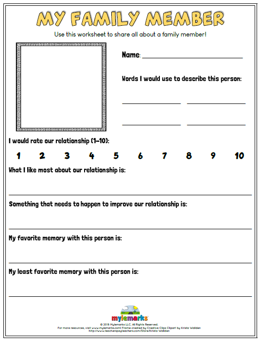 Family Relationships Worksheets For Kids And Teens