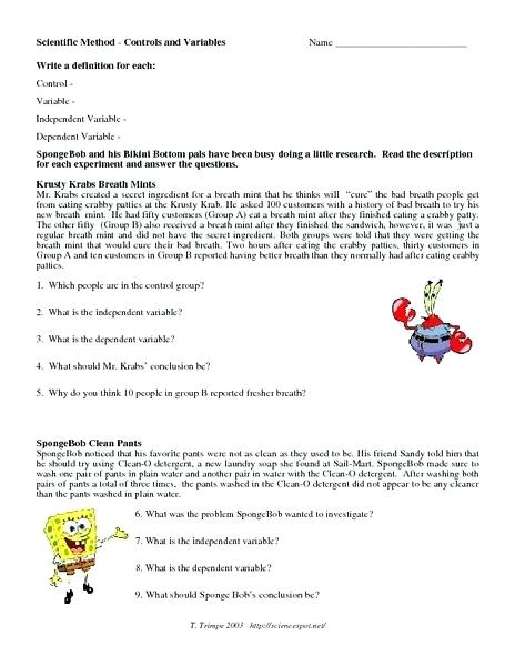 Control Independent And Dependent Variables Worksheets