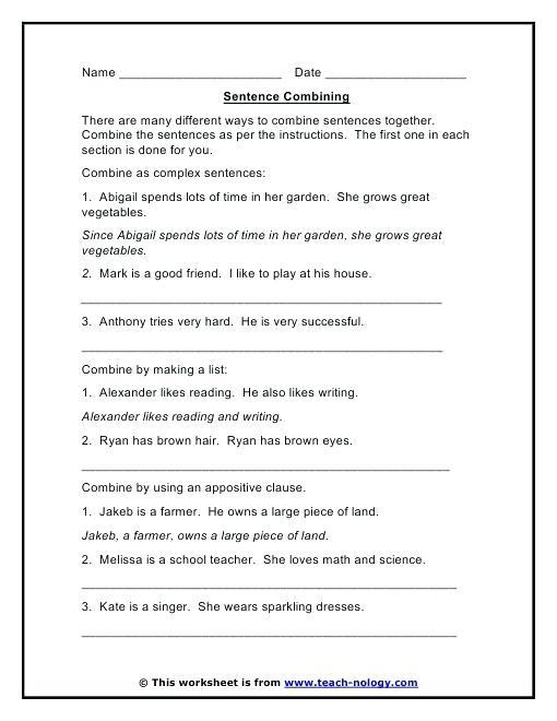 Sentence Combining Practice Worksheets Appositive Worksheet Middle