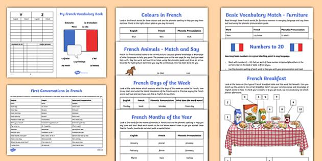 Learn French Worksheet   Worksheet Starter Pack