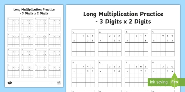 Ks2 Long Multiplication Worksheets
