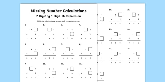 Missing Number Calculations 2 Digits By 1 Digit Multiplication