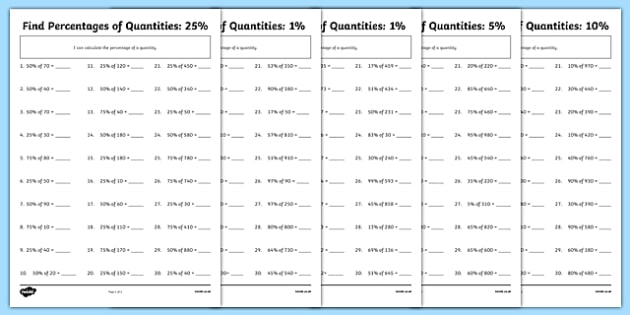 Find Percentages Of Quantities Differentiated Worksheet