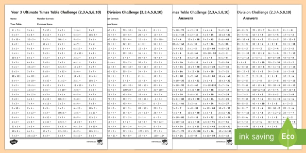 Year 3 Times Table And Division Challenge Worksheet   Worksheet