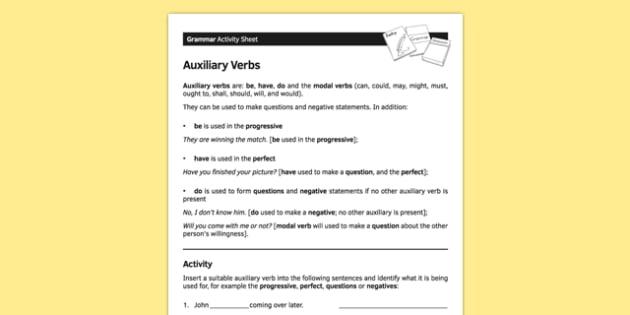 Ks3 English Curriculum Auxiliary Verbs Worksheet   Worksheet